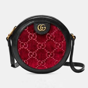 Gucci disco velvet round messenger crossbody bag